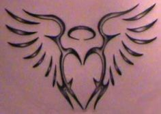 Tribal Angel Wing & Heart