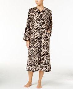 Miss Elaine Petite Fleece Zipper-Front Robe - Tan/Beige P/S