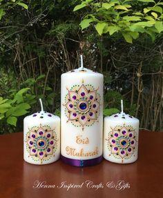 Eid Mubarak, Ramadan Kareem, Ramadan Mubarak, Ramadhan party, Eid, Eid Decor, Eid Party Table Display, Ramadan Decoration, Set of 3 Candles by HennaCraftsbyPramila on Etsy https://www.etsy.com/ca/listing/518464046/eid-mubarak-ramadan-kareem-ramadan