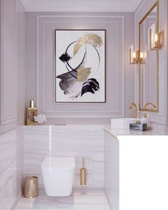 Bathroom Decor marble white marble bathroom, dysty pink walls, gold mirror, lamps, modern feminine classic with large painting on the wall Marble Bathroom, Bathroom Interior Design, Interior, Bathroom Wall Decor, White Marble Bathrooms, Home Decor, Modern Bathroom, Bathroom Decor, Beautiful Bathrooms