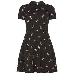 Dorothy Perkins Floral collar dress ($35) ❤ liked on Polyvore featuring dresses, black, jersey dress, cotton jersey dress, flower print dress, floral printed dress and floral jersey dress