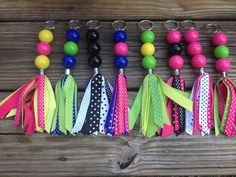 Never loose your keys again with our ribbon keychain. They make great teacher gifts, bridemaid's gift, or hostess gifts. Diy Ribbon, Ribbon Crafts, Bead Crafts, Cheer Gifts, Diy Gifts, Ribbon Projects, Craft Projects, Diy Keychain, Handmade Keychains