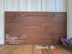 Rustic Wedding Alternative Guest Book  Personalized Wedding Wood
