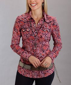 Look what I found on #zulily! Pink Paisley Long-Sleeve Button-Up - Women & Plus #zulilyfinds