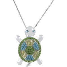Jewel Exclusive Sterling Silver Aquamarine, Turquoise and Peridot... ($20) ❤ liked on Polyvore featuring jewelry, multi, turquoise pendant, aquamarine pendant, peridot jewelry, crystal pendant and turtle pendant