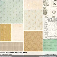 South Beach Add-On Paper Pack vintage seashore patterned papers #designerdigitals