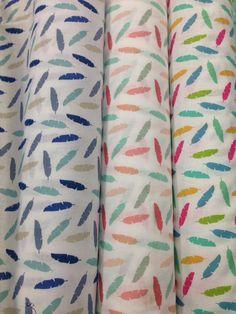 Tissu coton imprimé plumes - tissu enfant