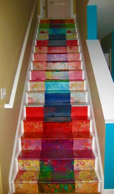 DIY decoupage staircase, decoupage stairs, staircase makeover with decoupage, basement stairs at a friend of mines home colorful way to makeover your stairs Decoration, Art Decor, Painted Stairs, Basement Stairs, Stairways, Boho Decor, Painted Furniture, Home Improvement, Sweet Home