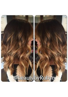 Dark Brunette roots melting to Golden Blonde using Balayage. Styled with GHD iron:) by Robyn Zekaria