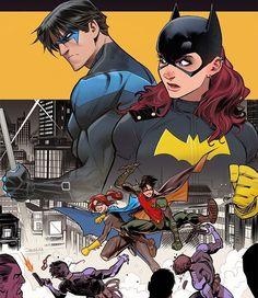 Nightwing and Batgirl by Dan Mora Tim Drake, Jason Todd, Nightwing And Batgirl, Batgirl And Robin, Batman Robin, Red Hood, Damian Wayne, Character Drawing, Comic Character