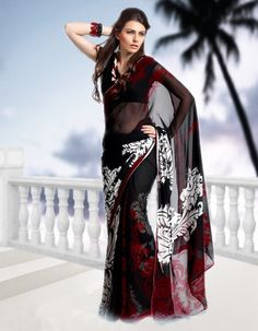 Black red and white printed saree  Material georgette  $ 100.00 free shipping