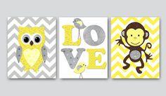 Kids wall art Owl Nursery Monkey Nursery Baby Nursery Decor Baby Girl Nursery Kids Art Baby Room Decor Nursery Print set of 3 8x10 yellow