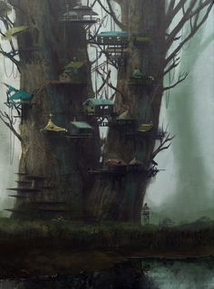 Tree Town Picture  (2d, fantasy, city, mist, fog, town, village, tree, fairy, fairytale)