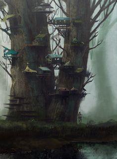 Tree Town Picture  (2d, fantasy, city, mist, fog, town, village, tree, fairy, fairytale)