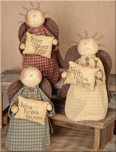 oh my! this trio of angels are so country-CUTE! the embroidered pillows they hold says it all, too! love it!...