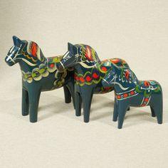 Blue Dala Horse Family Set of 3 Olsson Sweden Swedish Folk Art Hand Paint Wood