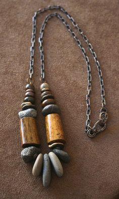 Rustic Necklace Sterling Silver, Elk Antler, Solid Bronze, Fossilized Coral, Chestnut Jasper - Jewelry US Rock Jewelry, Tribal Jewelry, Clay Jewelry, Jewelry Crafts, Jewelry Art, Beaded Jewelry, Silver Jewelry, Handmade Jewelry, Jewelry Necklaces