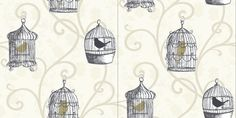 Skylark Gold (417401) - Arthouse Wallpapers - Gold and black coloured caged birds, hanging on a curling trail overlaid on another leaf trail. Drawn in black on a soft neutral cream and beige background. Please request sample for true colour match.