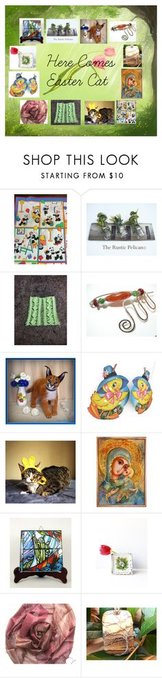 """""""Here Comes Easter Cat: Lovely Easter Gifts"""" by paulinemcewen ❤ liked on Polyvore featuring rustic, vintage and country"""