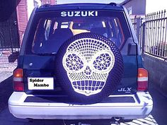 Sugar Skull Spare Tire Cover . The instructions include how to customize it to fit your wheel. American Crochet terms, pictures of many of the steps