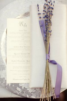 #lavender #menus Photography by birdsofafeatherphoto.com Floral Design by sadhnasfloralstudio.com Read more - http://www.stylemepretty.com/2012/04/27/pasadena-wedding-at-ambassador-mansion-gardens-by-birds-of-a-feather/