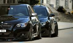 Black BMW M5s- his and hers...nice!!