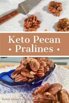 Keto Pecan Pralines Keto Pecan Pralines are the perfect keto candy or keto dessert. They are quick and super easy to make. Best of all, they are only 1 net carb per serving. Keto Pralines are so DELICIOUS. Give them a try and you won't be disappointed. Low Carb Candy, Keto Candy, Low Carb Sweets, Low Carb Desserts, Low Carb Recipes, Pecan Recipes, Dessert Recipes, Chocolates, Lchf