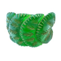 Vintage Deco Heavily Carved Green Bakelite Clamper Bracelet