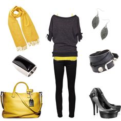 Mustard and Black Color combo