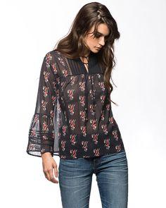 e25ab7fb22b3 Jachs Ny Printed Sheer Bib Blouse With Bell Sleeves - S