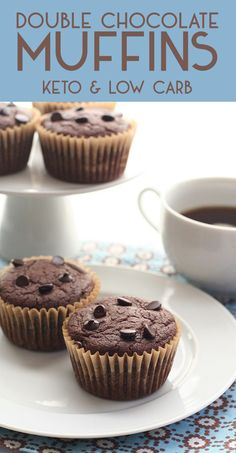 These keto double chocolate muffins are the easiest and most delicious low carb muffins you will ever make. Kids LOVE them. #doublechocolate #lowcarb #ketorecipes #muffins #sugarfree via @dreamaboutfood