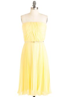 California Dessert Dress - Wedding, Vintage Inspired, 40s, Yellow, Solid, Pleats, Sheath / Shift, Strapless, Spring, Long-Only 1 left so not a great option but I do love this dress.