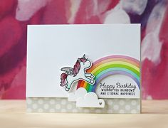 Mama Elephant-Unicorns and Rainbows Handmade Birthday Cards, Greeting Cards Handmade, Mama Elephant Stamps, Horse Cards, Rainbow Card, Interactive Cards, Ideas Hogar, Elephant Design, Over The Rainbow