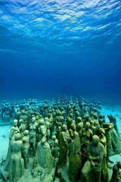 underwater sculpture museum off the coast of Isla de Mujeres and Cancun, Mexico. We snorkeled off of the Isla de Mujeres the last time we were in Cancun but we missed this. Definitely need to see this the next time we are in Cancun. Cancun Mexico, Dream Vacations, Vacation Spots, Cancun Vacation, Vacation Travel, Places To Travel, Places To See, Places Around The World, Around The Worlds