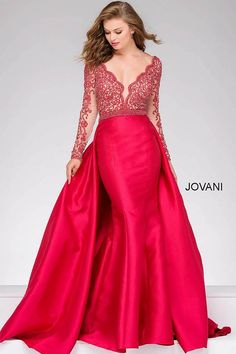 Red crimson floor length fitted dress with beaded lace long sleeve bodice with a v neckline and an overlay skirt.