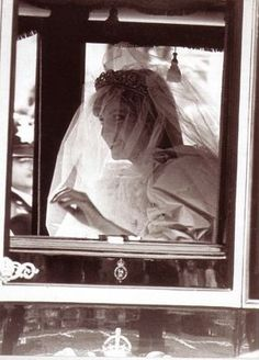 Lady Diana Spencer (later the Princess of Wales) on the way to the church in 1981.
