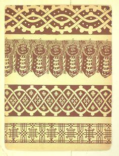 """Из книги С. Н. Писарева """"Древне-Русский орнамент"""" X-XVII века включительно. На парчах, набойках и других тканях. Издание 1903 года."""