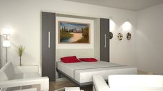 Bedroom. Awesome Contemporary Murphy Beds Design Ideas. Modern Murphy Beds Inspiring Design Feature Red Pillow Case And White Matters Cover And Murphy Bed For Small Space House Ideas