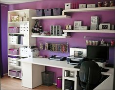 This is how my I think I want my craft room to look like (desk and shelves) but in grey and pink :-)