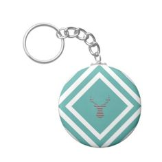 Abstract geometric pattern - Deer - black blue. Keychain - christmas keychains family merry xmas personalize gift idea