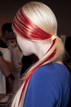 recent trends in hair colour - I really love the shock value of this. The question is how do you keep the red from bleeding into the blonde with every shampoo? Teen Hairstyles, Creative Hairstyles, Pretty Hairstyles, Curly Prom Hair, Curly Hair Styles, Locks, Creative Hair Color, Bright Red Hair, Hair Today