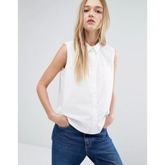 Monki Sleeveless Clean Shirt (€29) ❤ liked on Polyvore featuring tops, white, white cotton tops, criss cross back top, monki, white sleeveless shirt and white sleeveless top