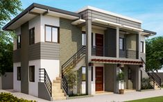 Grey colored bricks, stairs, metal railings and wall features defines APD-2013001. This apartment design consists of 4 units, 2 units in every floor. Each unit is a complete house feature, 2 Bedroo…