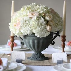 Grey Rustic Urn with Handles Wedding Centrepiece