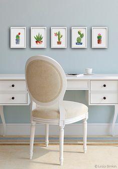 Watercolor Cactus set, SET OF 5, cactus art, cactus painting, flower painting, succulent print, crochet cactus, print set