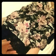 Lace top All lace black and floral design. Fitted on the bottom. One of my most favorite tops. Almost Famous Tops