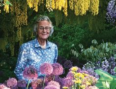 English garden designer Rosemary Verey is pictured in the famous garden at Barnsley House, which she designed.