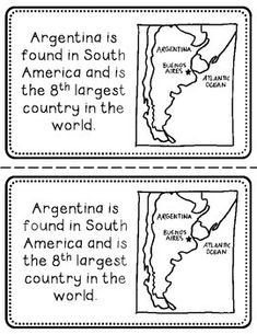 Argentina Booklet (A Country Study! First Grade Activities, Spanish Activities, Largest Countries, Countries Of The World, Hispanic Countries, Outline Format, Preschool Art Projects, Teaching Kids, Social Studies