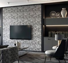Textured Pattern Contemporary Home Ideas Television Walls Tv Wall Panel, Accent Walls In Living Room, Tv Wall Ideas Living Room, Living Room Tv Unit Designs, Fireplace Tv Wall, Tv Wall Design, Style At Home, Decoration, Interior Design