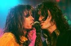 Steven Tyler and Joe Perry of Aerosmith perform at the Onondaga War Memorial Jan. 21, 1998. Photo by Randi Anglin.